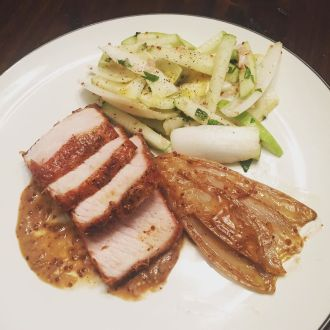 Adventures_in_Blue_Apron._Roast_Pork_with_Braised_Endive_alongside_a_green_apple__endive____mint_salad.__bachef__blueapron